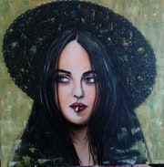 Portrait femme chapeau. Isabelle Leleu