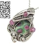 Ruby Fuschite Wire-Wrapped Pendant with Pink Sapphire. Heather Jordan Jewelry