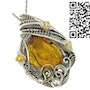 Baltic Amber Pendant with Spider Inclusion and Ethiopian Welo Opals. Heather Jordan Jewelry
