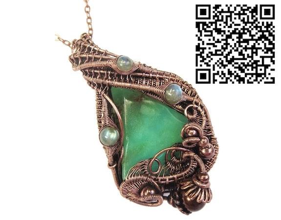 Australian Chrysoprase Wire-Wrapped Pendant in Copper with Labradorite. Heather Jordan Heather Jordan Jewelry
