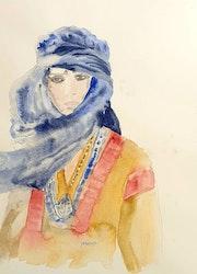 Aqarelle femme du desert. Yokozaza