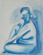 Femme nue en bleu sur toile. S. L