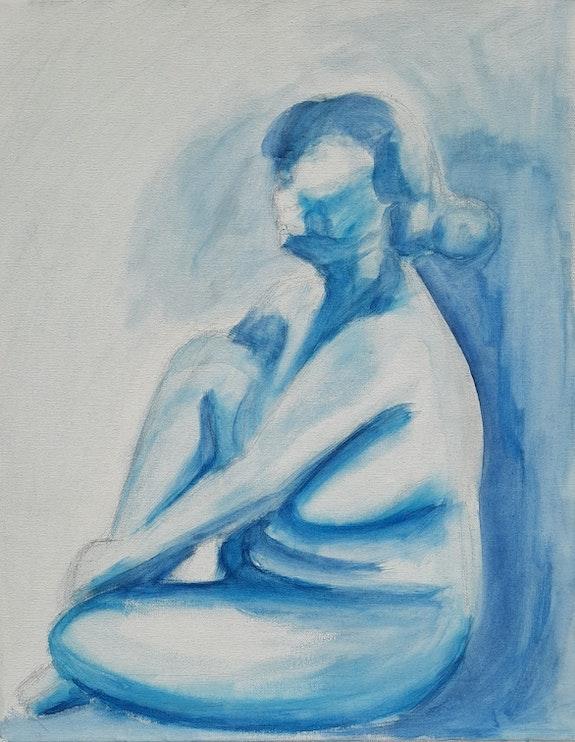 Femme nue en bleu sur toile. S. L S. L