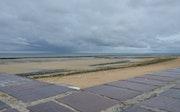 Saint Aubin sur mer, la plage sous un ciel orageux. Microzede
