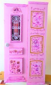 Lagerschrank handbemalt handgemachte rosa Haustür 69x20x17 cm (Shabby Chic). Dimitrios Manos