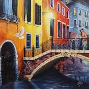 Peinture sur Toile - Venise, un soir romantique - 1m X 1m. Olivier27430