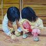 Peinture sur Toile - Les Enfants du Village Akha - 70cm X 50m. Olivier27430