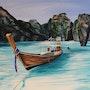Peinture sur Toile - Pirogue de Koh Phiphi - 1m X 0.73m. Olivier27430