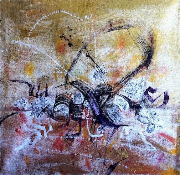 Autumn meeting in the membrane of existence large art, xl 100x100 cm by dariya t. Dariya Tumanova