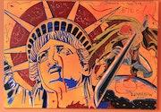 Yakuza in New York ~ Japanese manga themed acrylic pop-art painting on board.