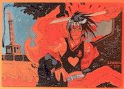 Fireman & Love Parade ~ Japanese manga themed pop-art acrylic painting on board. Norbert Szük