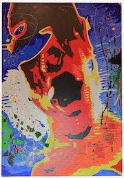 Tragedy I. ~ Pop-art acrylic painting on board ~ series of 4. Norbert Szük