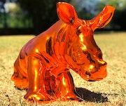 Chrome Baby Rhino Sculpture. Gerhard Buckholz