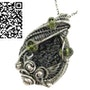 Black Tektite Pendant, Wire-Wrapped in Sterling Silver with Peridot. Heather Jordan Jewelry