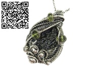 Black Tektite Pendant, Wire-Wrapped in Sterling Silver with Peridot.