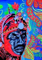 Maasai warrior ~ neon po-art acrylic painting on paper. Norbert Szük