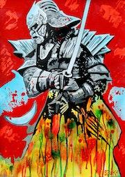 Ronin ~ acrylic pop-art & street art painting on paper. Norbert Szük