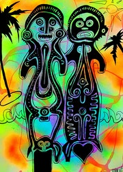Travel around Bali in love ~ tribal pop-art painting on paper. Norbert Szük