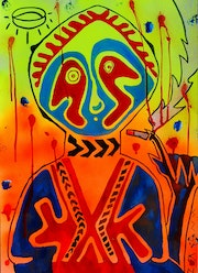 Relax at a beautiful sunset ~ tribal pop-art acrylic painting on paper. Norbert Szük