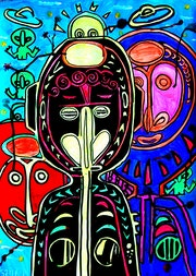 Aliens live among us and listen to chill-out music ~ tribal pop-art painting. Norbert Szük