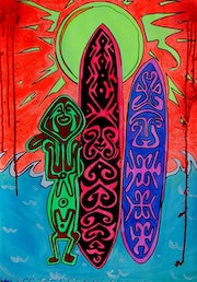 Surfer boy in sparkling sunlight ~ tribal pop-art painting on paper. Norbert Szük