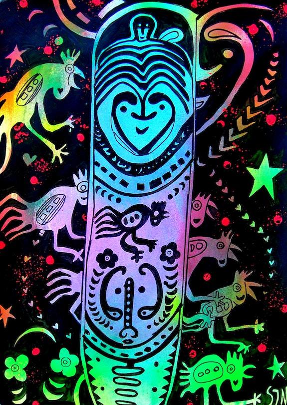 Surfboard and Balinese cockerels ~ neon pop-art tribal painting on paper. Norbert Szük Norbert Szük