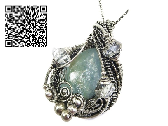 Celestite Wire-Wrapped Pendant in Sterling Silver with Herkimer Diamonds. Heather Jordan Heather Jordan Jewelry