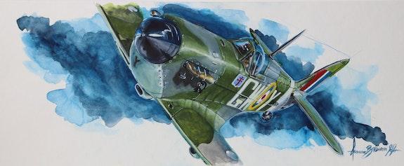 Fafl spitfire 340sqd. Baldinotti Forangeart Forangeart F. Baldinotti Peintre De l'air