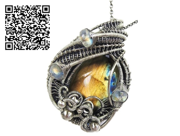 Labradorite Wire-Wrapped Pendant with Rainbow Moonstone in Sterling Silver. Heather Jordan Heather Jordan Jewelry