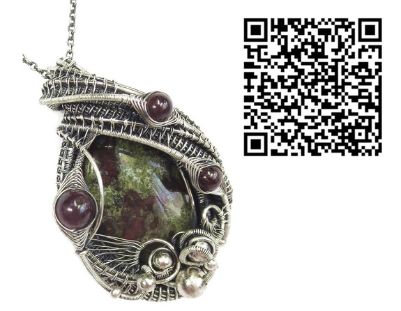 Dragon Blood Jasper Pendant with Almandine Garnet. Heather Jordan Heather Jordan Jewelry