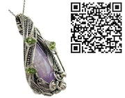 Amethyst Wire-Wrapped Pendant with Peridot in Sterling Silver.