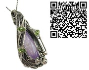 Amethyst Wire-Wrapped Pendant with Peridot in Sterling Silver. Heather Jordan Jewelry