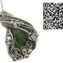 Moldavite Wire-Wrapped Pendant with Herkimer Diamonds in Sterling Silver. Heather Jordan Jewelry