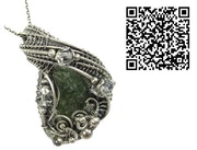 Moldavite Wire-Wrapped Pendant with Herkimer Diamonds in Sterling Silver.