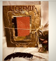 Alchemy Journal. Genuine rose gold lambshin wood cover handbound book. Et Ansel