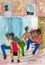 25- Estudiantes. Dibujos.. Carmen Luna