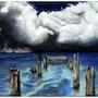 Lac bleuté sur fond nuageux. K. Zi. Yak
