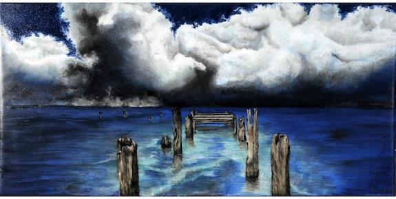 Lac bleuté sur fond nuageux. K-Zi-Yak K. Zi. Yak
