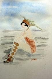 Aquarelle, femme des années 20 a la plage.