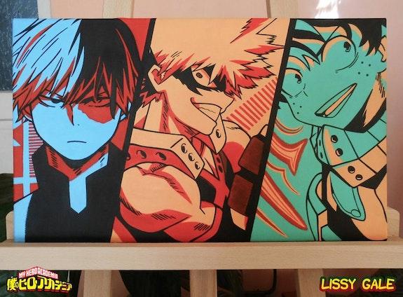 My Hero Academia. Todoroki, Bakugou and Deku 100% Handmade Acrylic On Canvas Rea. Lissy Gale Lissy Gale
