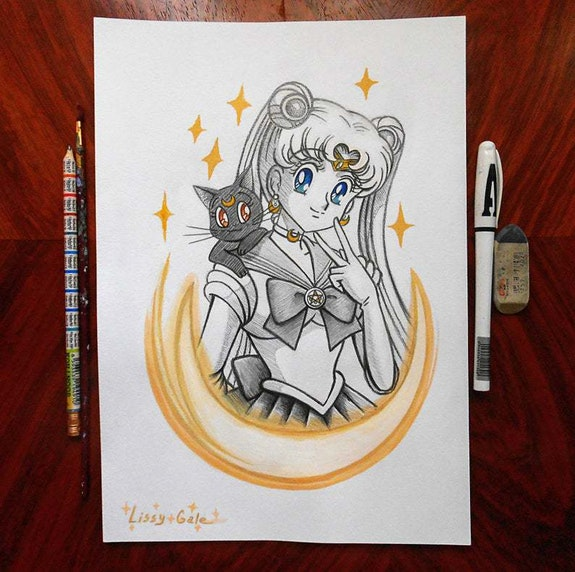 Sailor Moon, Usagi Tsukino and Luna, Anime Drawing, Anime Art, Fanart. Lissy Gale Lissy Gale