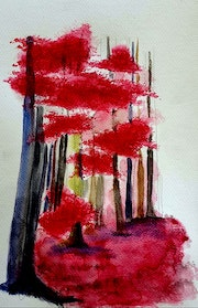 Aquarelle abstrait, la foret rouge.