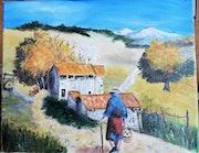Retour à la maison après ramassage de champignons, en Provence.