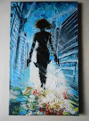Black Widow, Avengers, Silhouette, Marvel, Comics, Art, Painting, Acrylic.