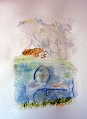 Aquarelle Bouddha et le tigre.