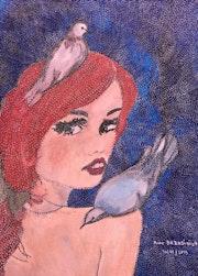 Elle parle aux pigeons.