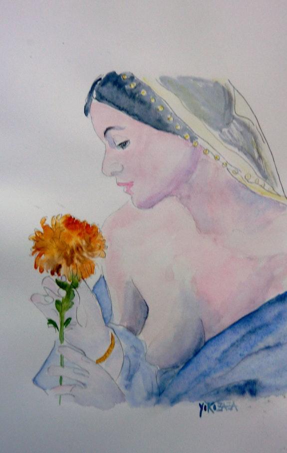 Aquarelle la femme et la fleur. Yokozaza Yokozaza