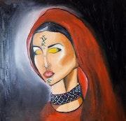 Tableau d'art moderne. Peinture a l'huile sur toile 50/60. Fatima Zohra