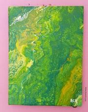 Tableau pouring acrylique liquide abstrait (129) signé acr.