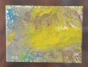 Tableau pouring acrylique liquide iquide abstrait (131) signé acr.